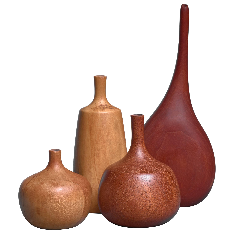 Set of Four Turned Wood Vases, Three by Rude Osolnik, USA, 1960s