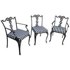 Set of Three American Cast Iron Chairs with Mesh Seats, Turn of the Century