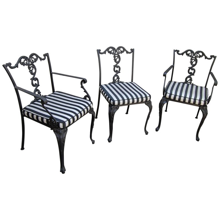 Set of Three American Cast Iron Chairs with Mesh Seats