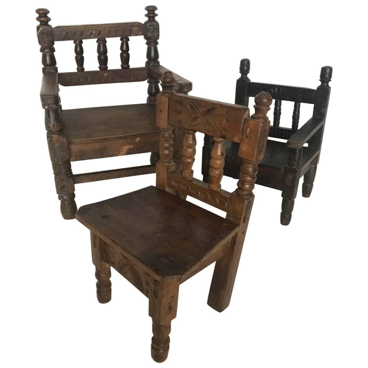 Antique Guatemalan Children's Chairs