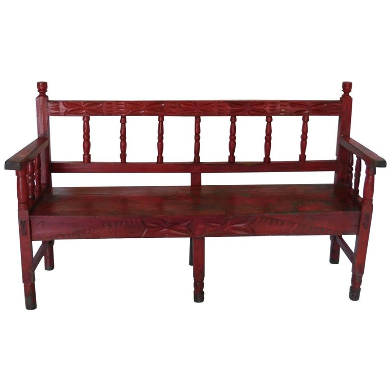Small Vintage Painted Carved Bench