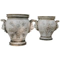 19th Century Enameled Cast Iron Rouen Vases