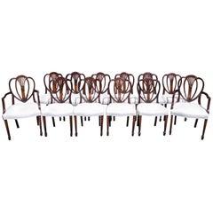 Set of 12 English Hepplewhite Mahogany Shield Back Dining Chairs, Circa 1840