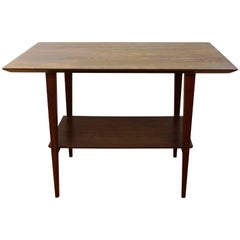 Scandinavian Style Mid-Century Teak Side Table with Shelf