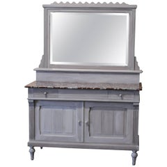 Soft Gray Painted Wood French Vanity with Marble Top