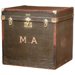 19th Century French Leather and Brass Trunk Luggage Signed Alligre Paris