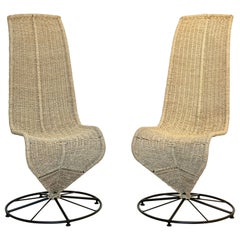 Marzio Cecchi 1970, Italian Pair of Black Lacquered and Beige Wicker Rope Chairs