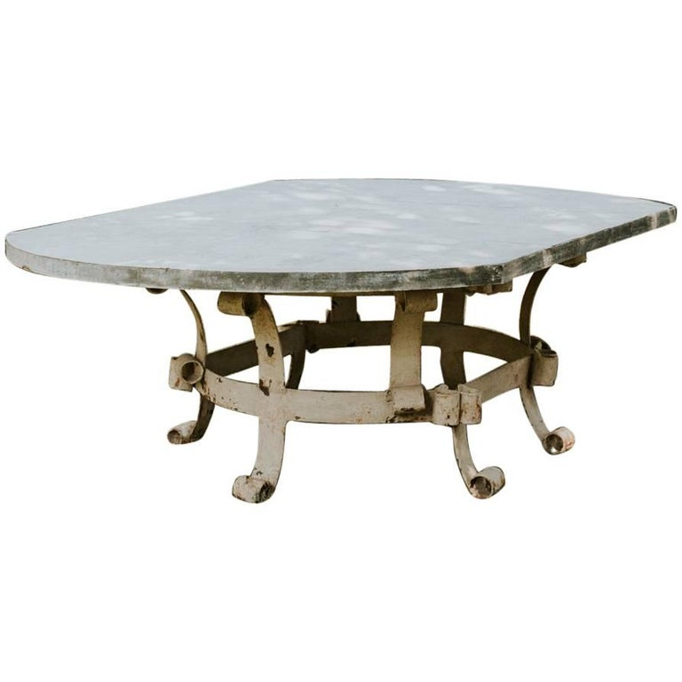 Creation Garden Table, 19th Century Iron Base and Lead Tabletop