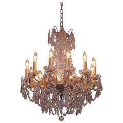 French Baccarat Gilt Bronze and Crystal Twelve-Arm Chandelier, Circa 1840
