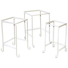 Set of Three Painted Stacking Iron Table