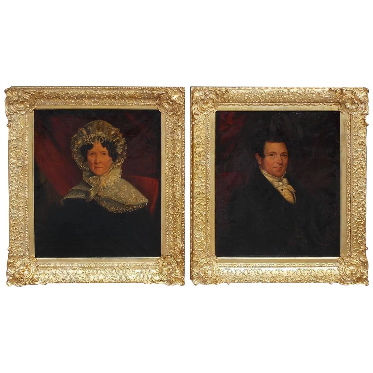 Pair of American Oil on Canvas Gilt Framed Portraits, S.C., Circa 1770