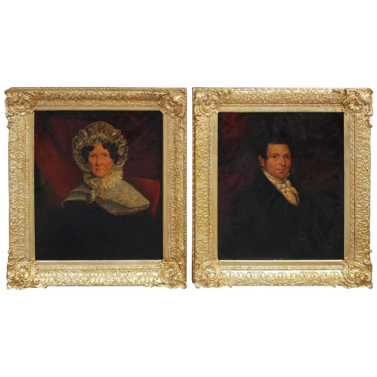 Pair of American Oil on Canvas Gilt Framed Portraits, S.C., Circa 1770
