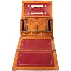 Antique Irish Golden Oak Writing Box