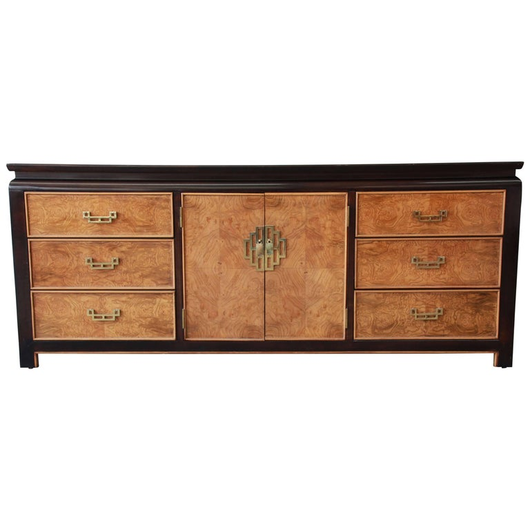 Century Furniture Burl Wood And Black Lacquer Chin Hua