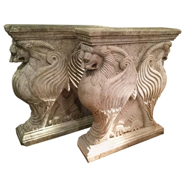 Carved Stone Base : Pair of carved stone lion garden table base for sale at