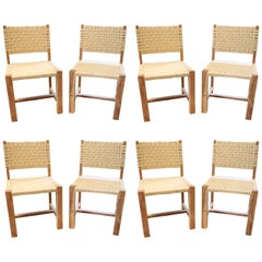 Set of Eight Woven Rope Side Chairs