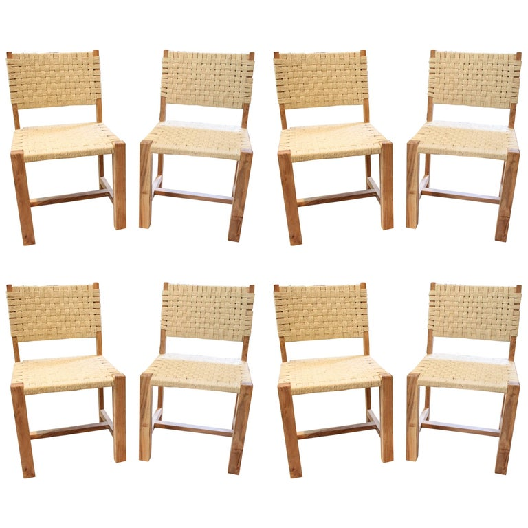 Set of Eight Woven Rope Side Chairs 1