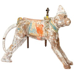 Painted Carved Wooden Carousel Monkey
