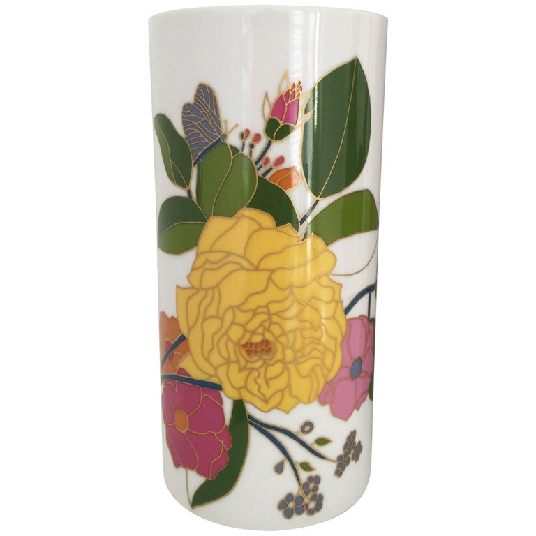 1960s Floral Hand-Painted Cylindrical Vase by Rosenthal