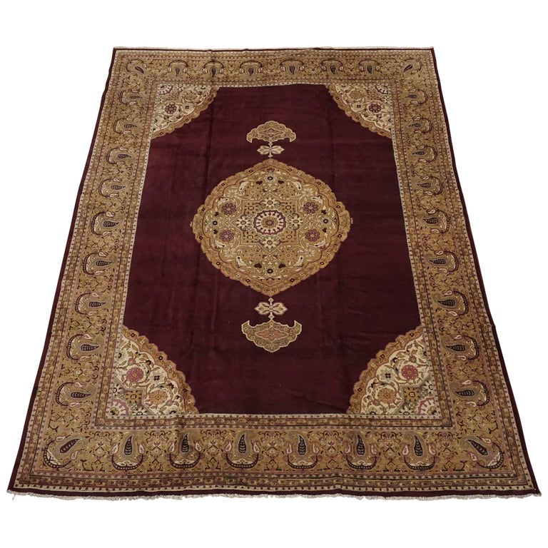 Antique Cotton Agra Rug With Abrash Circa 1900 For Sale: Antique Burgundy Agra Rug, Circa 1900 For Sale At 1stdibs