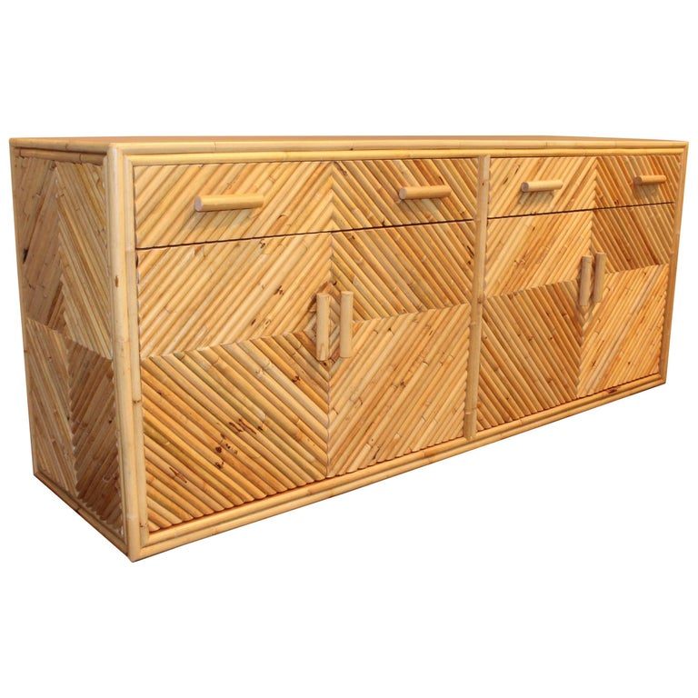Vintage Split Bamboo Sideboard Cabinet For Sale