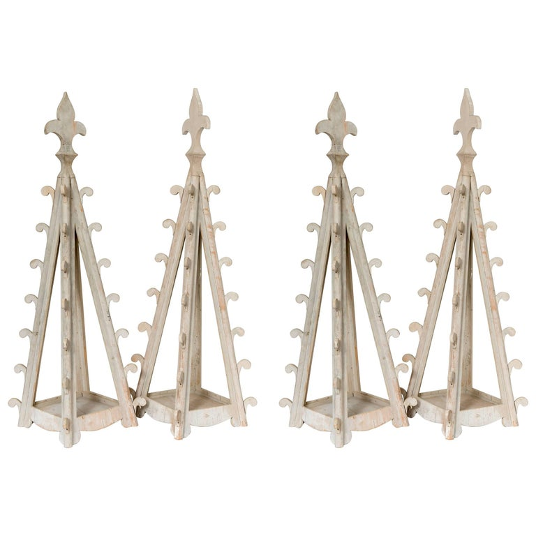 Two Pairs of Gothic Wooden Table Candleholders For Sale