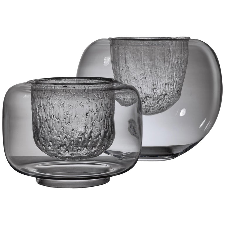 Pair of Timo Sarpaneva Glass Bowls for Iittala, Finland, 1960s For Sale