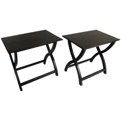 Pair of Ebonized Campaign-Style Tables