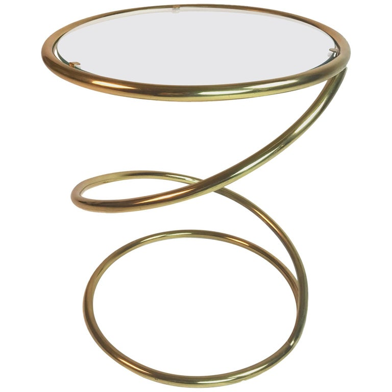 Pace Collection Brass And Glass Spring Or Spiral Coffee Or End Table For Sale At 1stdibs