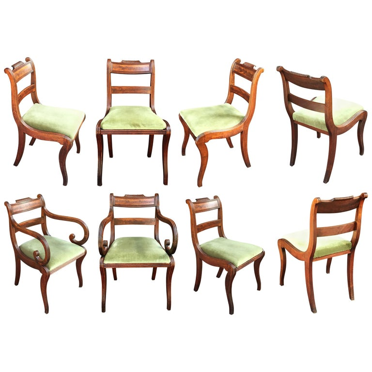 Set of Scottish Regency Dining Chairs of Mahogany, Two Arms and Six Side Chairs 1