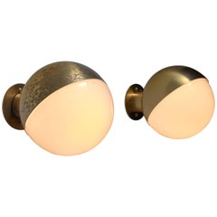 Vilhelm Lauritzen Pair of Opaline Glass and Brass Wall Lamps, Denmark
