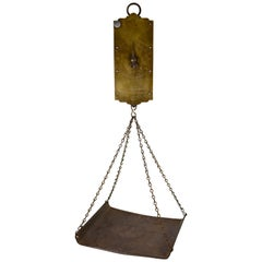 19th C. Chatillion Hanging Brass Mercantile 30 Lb. Scale with Galvanized Tray
