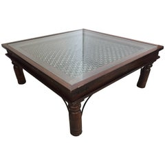 Anglo Indian Wooden Coffee Table with Iron and Glass