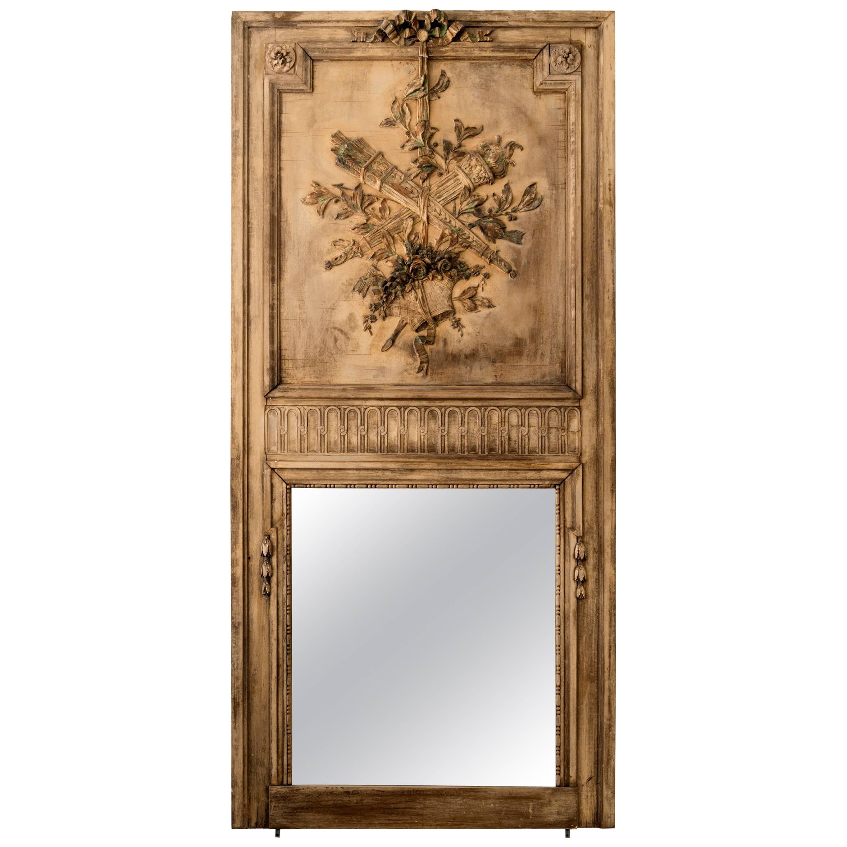 Gilt Louis XVI Trumeau Mirror, Admiral Design