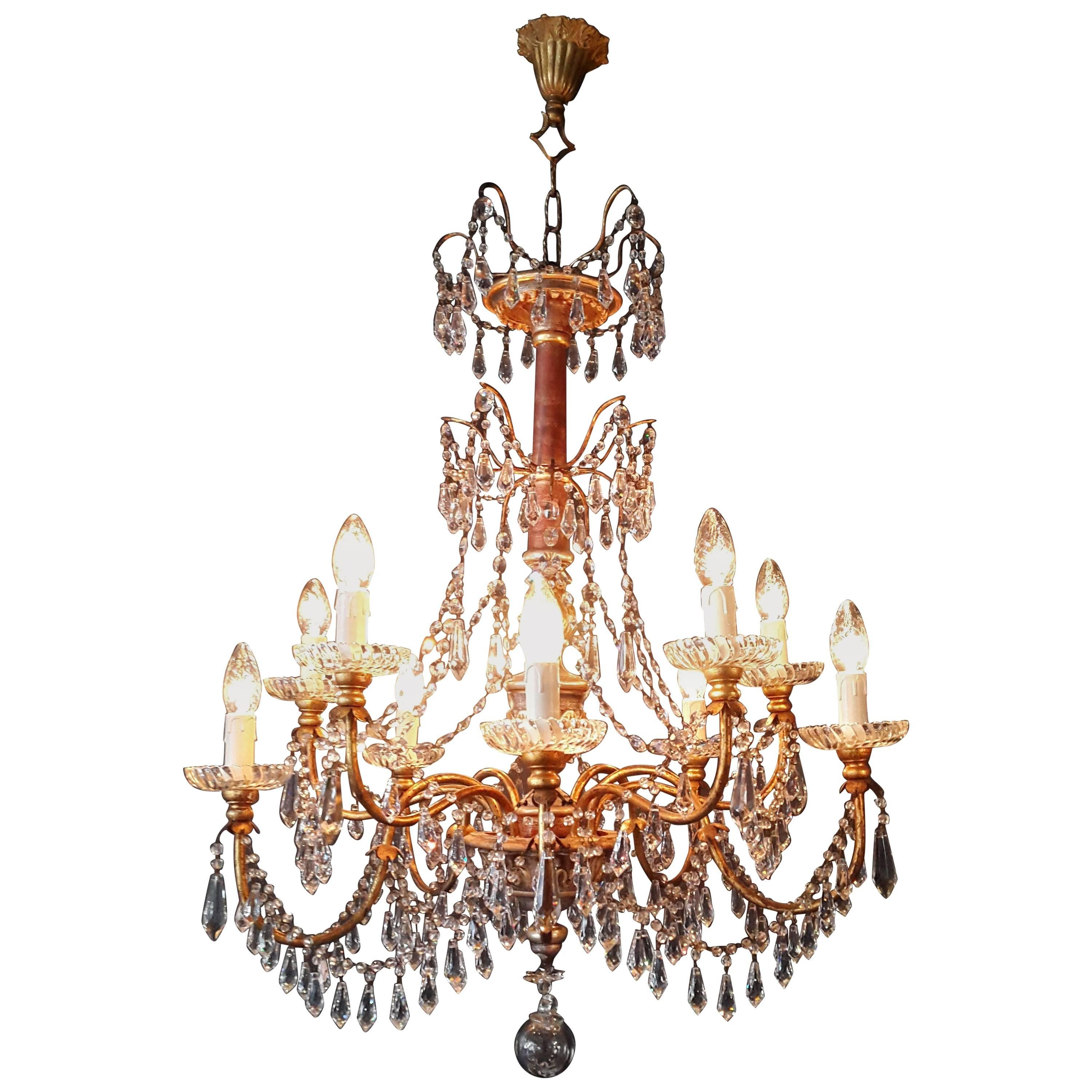 Antique Crystal Chandelier Lustre, 19th Century Wood For Sale