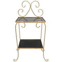 French Gilt Metal Side Table with Two-Tier Black Glass Shelves