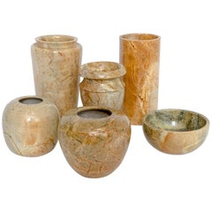 Set of SIX Marble Vases and One Alabaster Vase