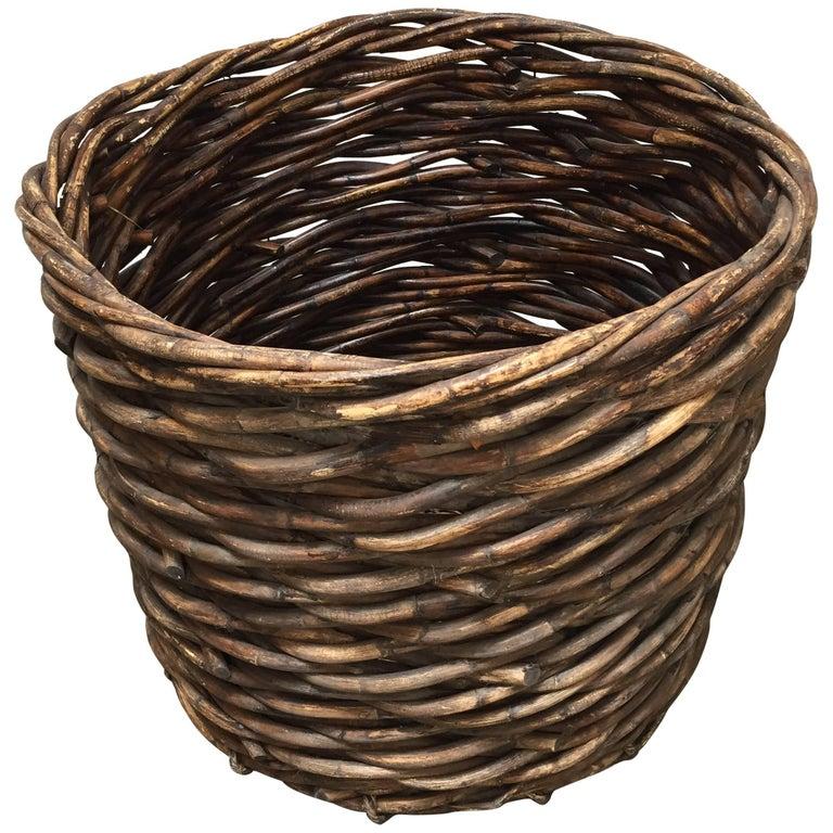 French Vintage Oversized Harvest Wicker Basket