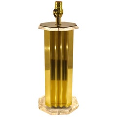 Single Cityscape Style Lucite Mounted Table Lamp