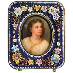 19th Century Portrait Miniature Painting in Micro Mosaic Frame