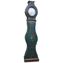 Antique Swedish Mora Clock Blue & Red Carved Detail Hand-Painted Early 1800s