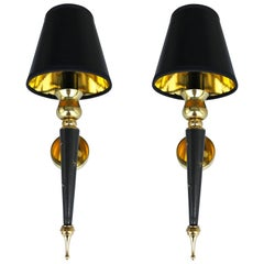Pair of Jacques Adnet Style Sconces