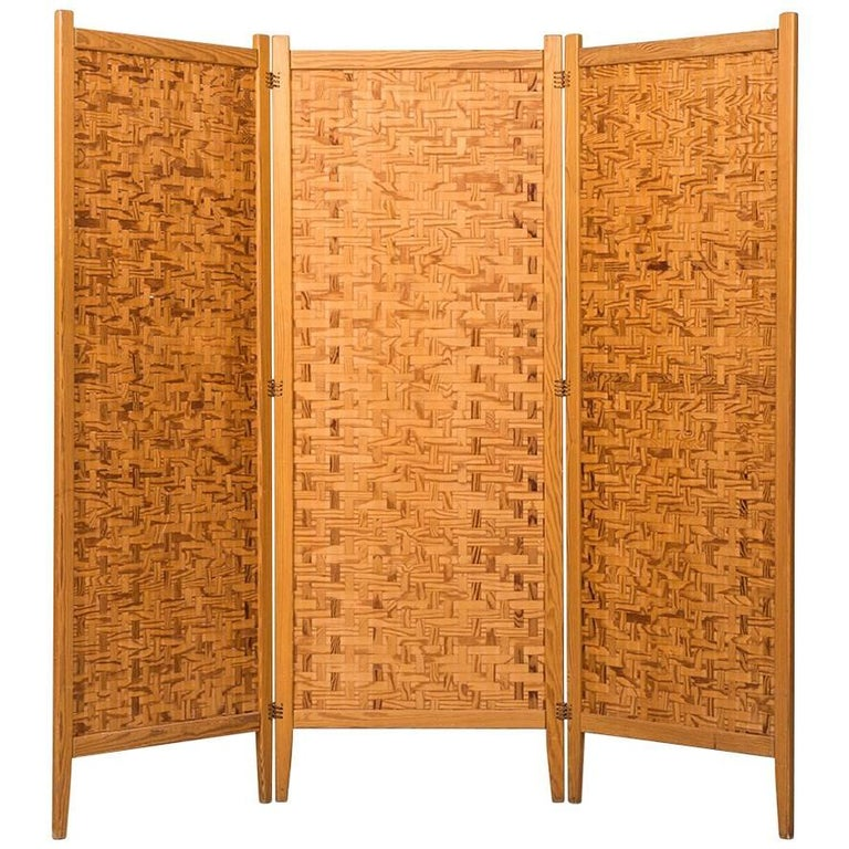 Folding screen room divider in pine by alberts in sweden for sale at 1stdibs - Opaque room divider ...