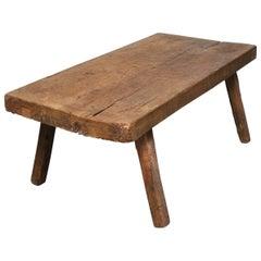 Vintage Oak Butcher's Block Coffee Table/Bench 1930s