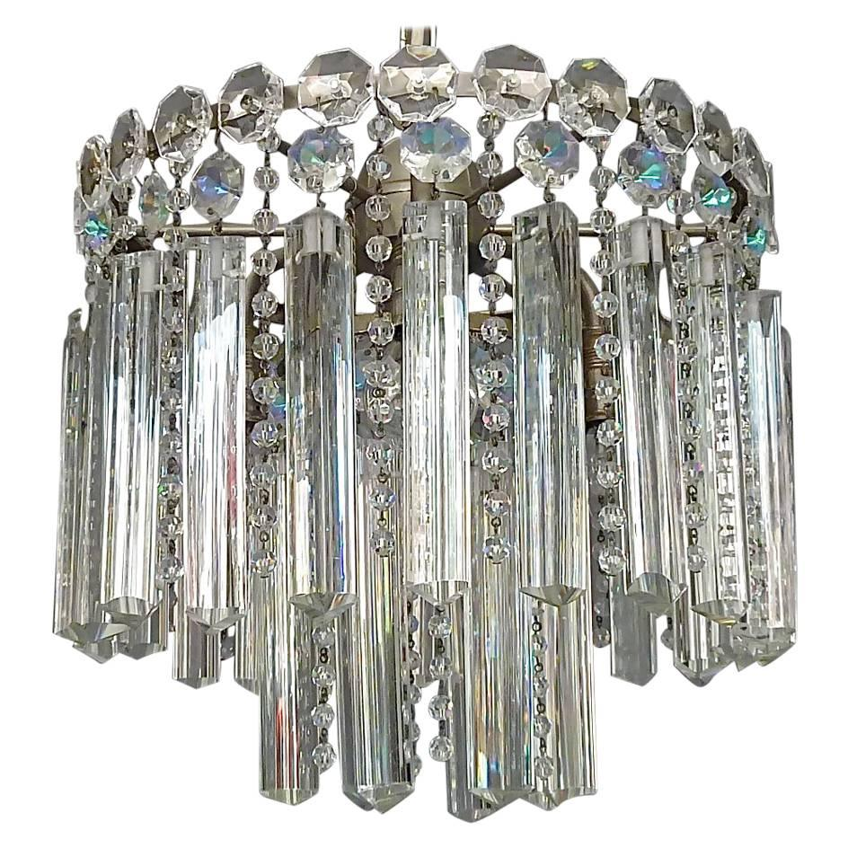 Precious Bakalowits or Lobmeyr Faceted Crystal Glass Chandelier, Austria, 1950s