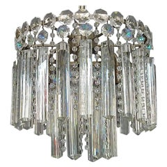 Precious Bakalowits or Lobmeyr Faceted Crystal Glass Chandelier, Austria, 1950s