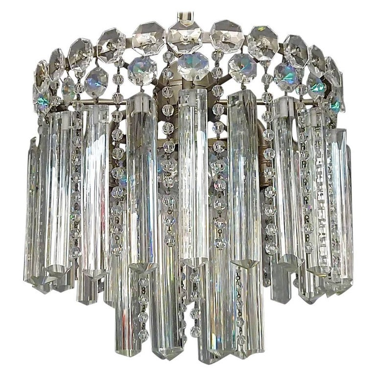 Precious Bakalowits or Lobmeyr Faceted Crystal Glass Chandelier, Austria, 1950s For Sale