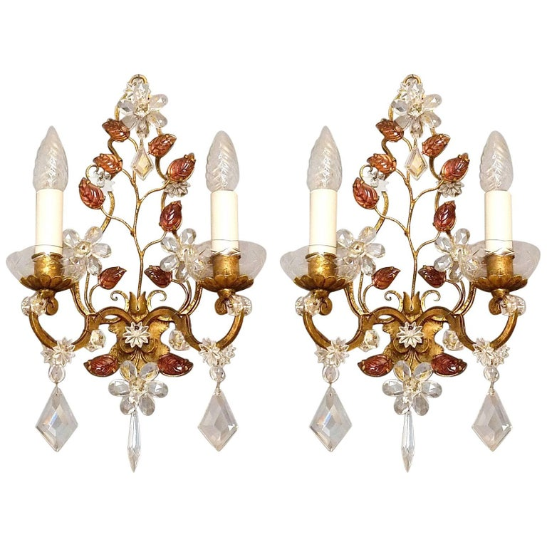 Great Pair of Maison Baguès Style Flower Leaf Sconces Gilt Faceted Crystal Glass