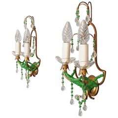 Pair of Italian Floral Sconces Gilt Metal Crystal Jade Green Murano Glass Signed