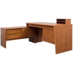 Extraordinary Desk from the 1950s, Walnut, L-Shaped